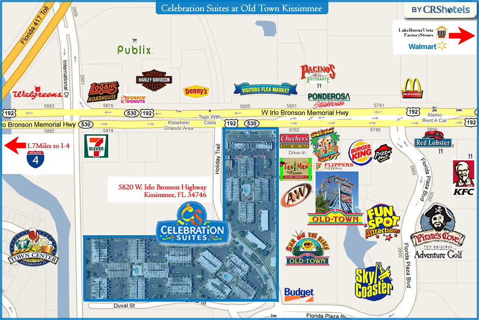 Old Town Kissimmee Area Map Celebration Suites