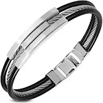 """Stainless Steel Black Rubber Silicone Silver-Tone Rope Men's Bracelet, 8"""""""