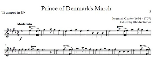 Clarke Prince of Denmark's March - trumpet sheet music play along accompaniment