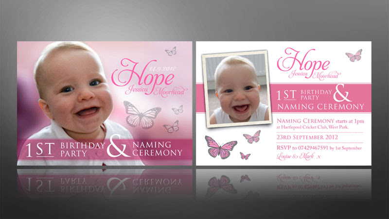 1st birthday and christening invitation