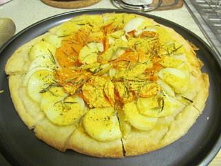 Potato, Sweet Potato, Garlic and Rosemary Pizza