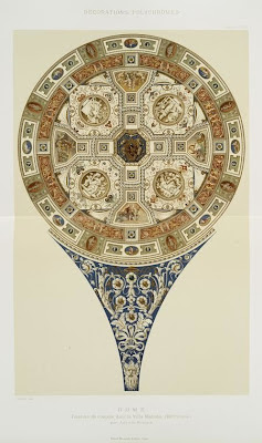 lithograph reproduction of Giulio Romano's dome painting in Villa Madama in Rome