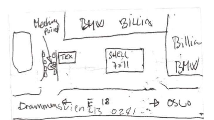 MULIG MØTESTED: På cella til en av de siktede fant politiet etter pågripelsen en lapp med en kartskisse som tyder på at narkotikaen skulle leveres ved et gatekjøkken på Skøyen i Oslo. Foto: POLITIET / GT/EXPRESSEN