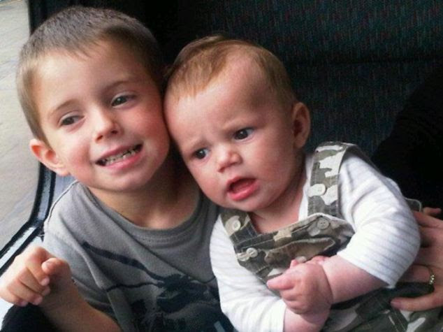 Killed: Joshua, five, (left) died after falling 100ft from the Dartmoor beauty spot, while a body thought to be that of Sam, two, (right) was found at Mrs Hooper's home in Paignton