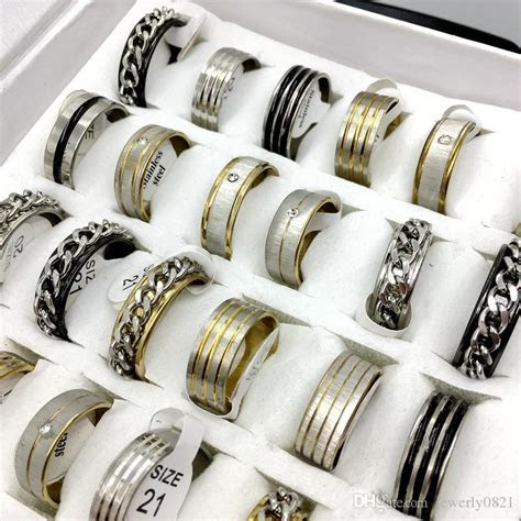 Wholesale 3 Mix Style Stainless Steel Rings Mens Womens