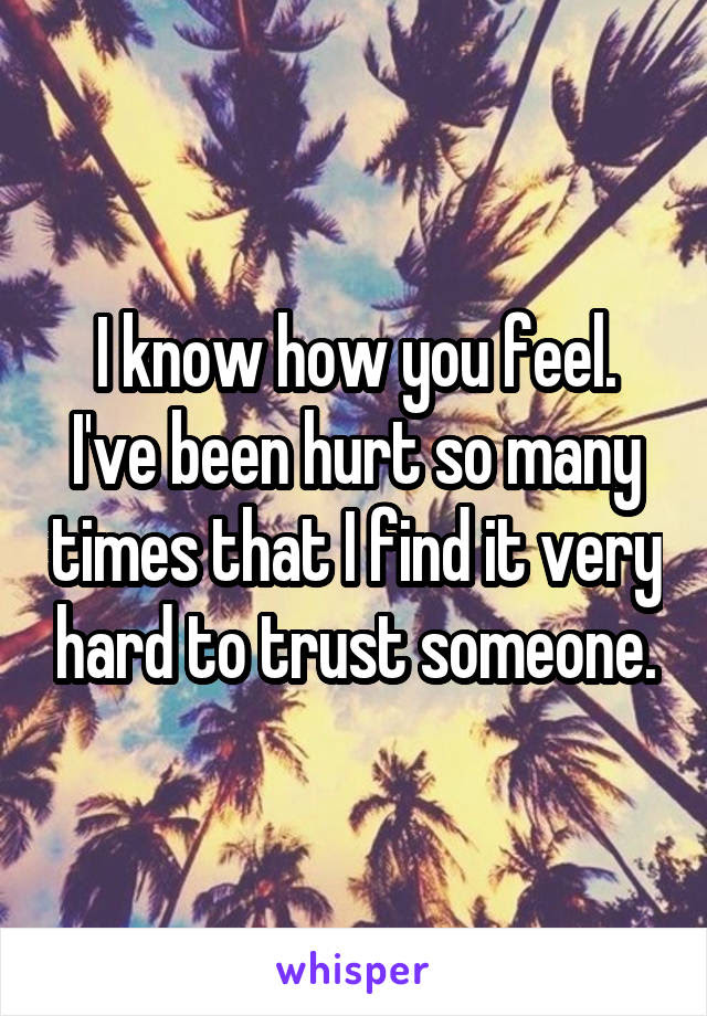I Know How You Feel Ive Been Hurt So Many Times That I Find It