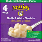 Annies Macaroni & Cheese, Shells & White Cheddar, 4 Pack - 4 pack, 6 oz boxes
