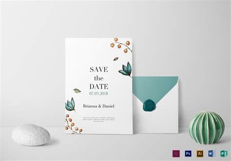 Simple Wedding Invitation Design Template in PSD, Word