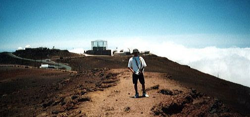 Standing atop the summit of Mount Haleakala during a trip to Maui...in May of 2000.