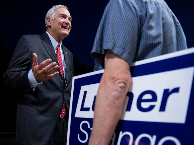 UNITED STATES - AUGUST 4: GOP candidate for U.S. Senate Sen. Luther Strange, R-Ala., left, speaks with a supporter after the U.S. Senate candidate forum held by the Shelby County Republican Party in Pelham, Ala., on Friday, Aug. 4, 2017. Sen. Strange is running in the special election to fill the seat vacated by Attorney General Jeff Sessions. (Photo By Bill Clark/CQ Roll Call)