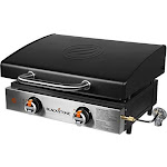 """Blackstone 1813 Tabletop Griddle With Stainless Steel Front Plate And Hood - 22"""", Black"""