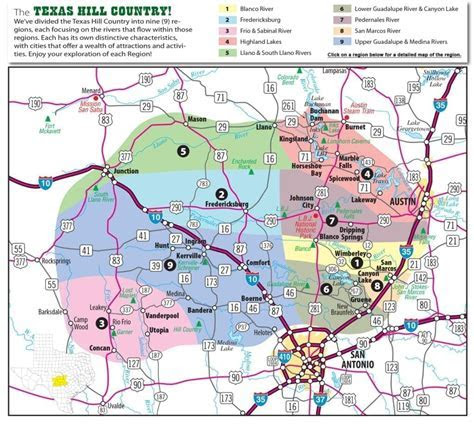 Texas Hill Country Map with Cities & Regions · Hill