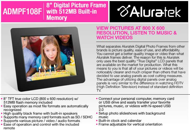 Buy The Aluratek Admpf108f 8 Digital Picture Frame At Tigerdirectca