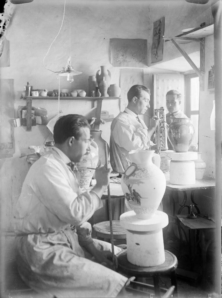 Una fábrica de cerámica en Toledo en los años 20. Detalle de una Fotografía de Otto Wünderlich. © Fototeca del Patrimonio Histórico