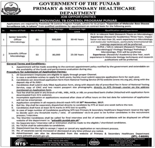 PSHD Primary & Secondary Healthcare Department Jobs 2017 Jobs Pakistan Jobz.pk