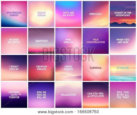 Big Set Of 20 Square Blurred Nature Purple Pink Backgrounds With