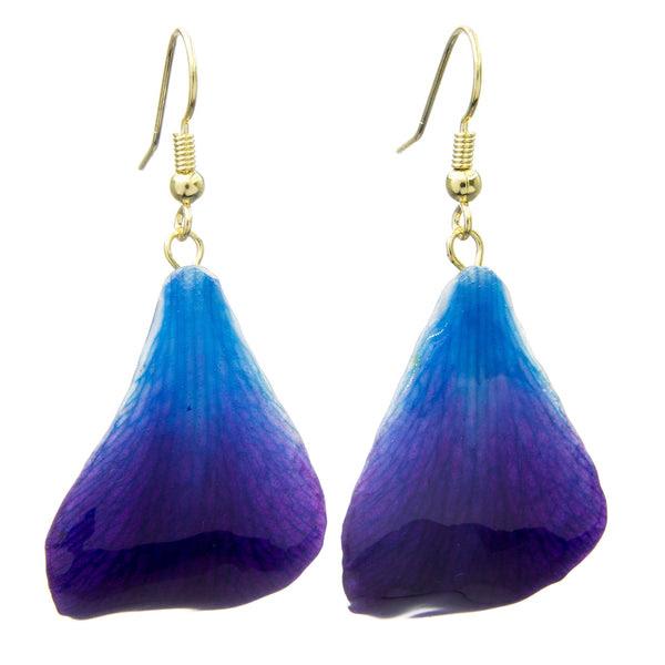 Dendrobium Orchid Petal Earrings Purple Blue Roc Jewellery