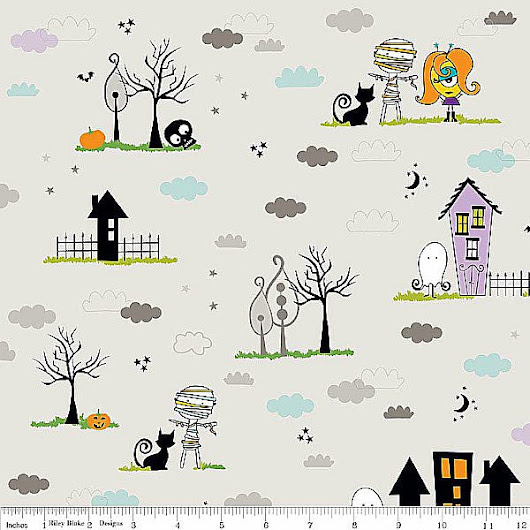 Too Cute To Spook - Main - Gray - Riley Blake Designs - 1/2 Yard - 100% Cotton Quilt Fabric