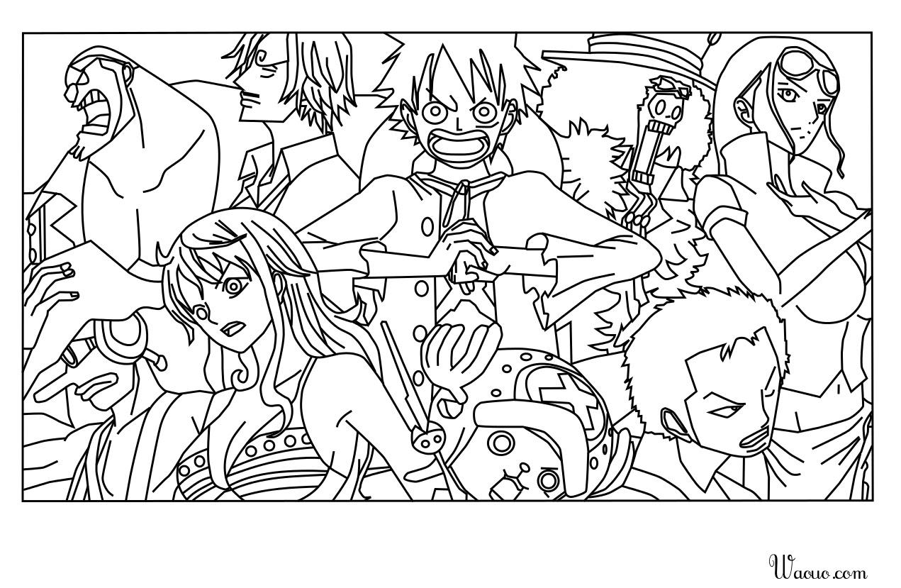 Inspiration Coloriage One Piece Tout L Equipage A Imprimer