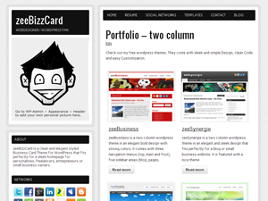 zeeBizzCard Free WordPress Theme