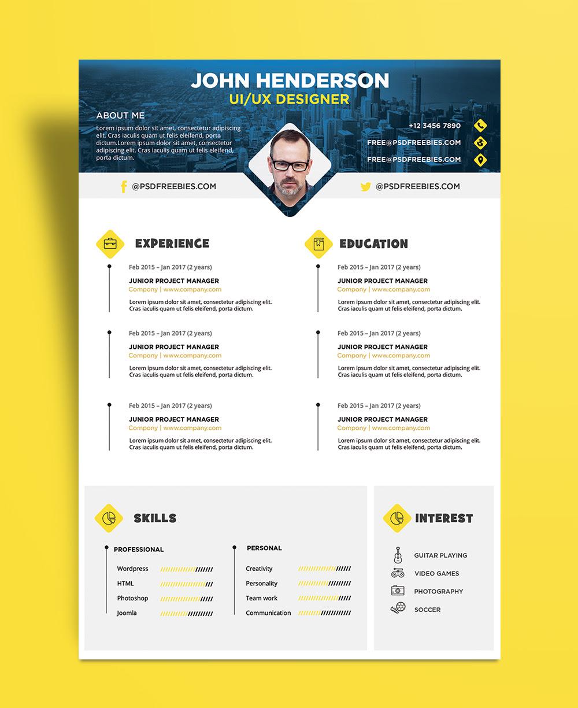 Free Creative Resume CV Design Template PSD File 1