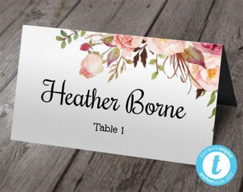 Boho Floral Wedding Place Card Template, Escort Cards