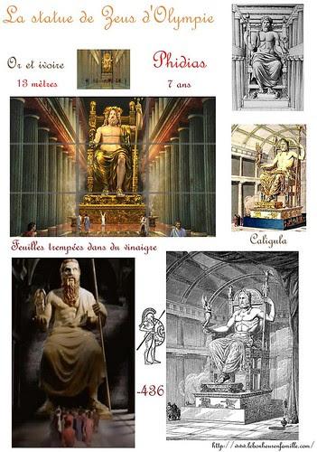 zzzzzzzzzfiche merveilles du monde, statue de Zeus