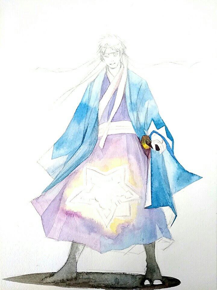武士サムライ新撰組キャラクターイラスト描き方水彩絵の具による