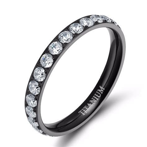 3mm Women Titanium Ring Cubic Zirconia Eternity