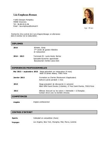 Exemple Cv Etudiant Terminale