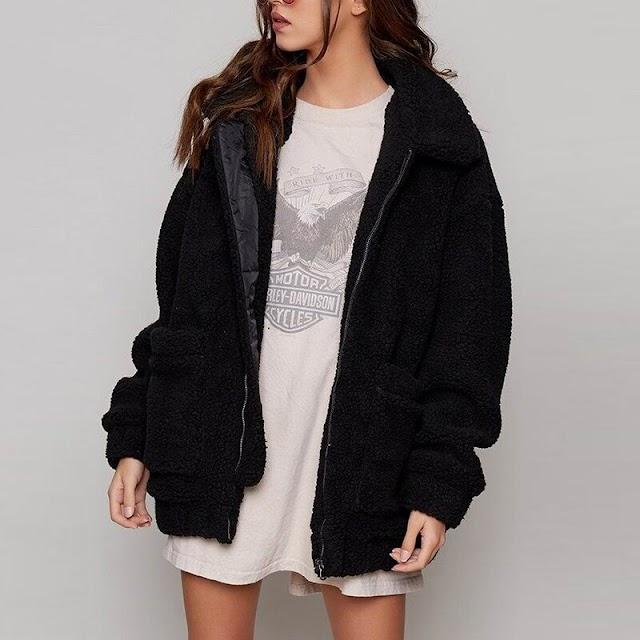 Beste Kopen Fashion Faux Lamswol Jas Vrouwelijke Zwart Rood Lange Mouwen Oversized Vrouwen Overjas 2018 Winter Rits Warme Bovenkleding Goedkoop