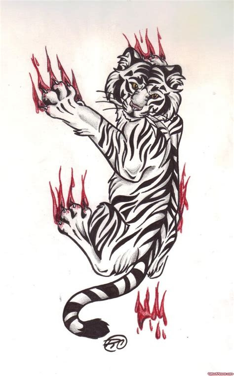 black tribal tiger  paw scratches tattoo design