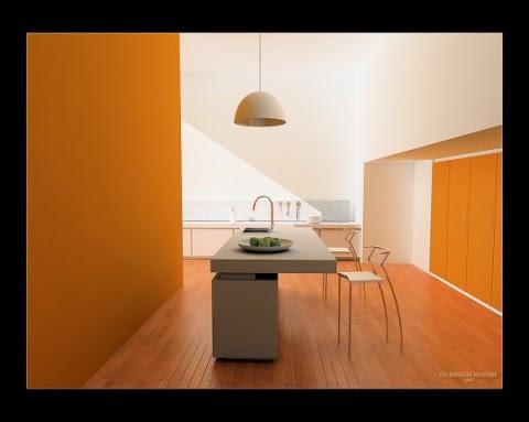 Modernas y sofisticadas cocinas en color naranja-09