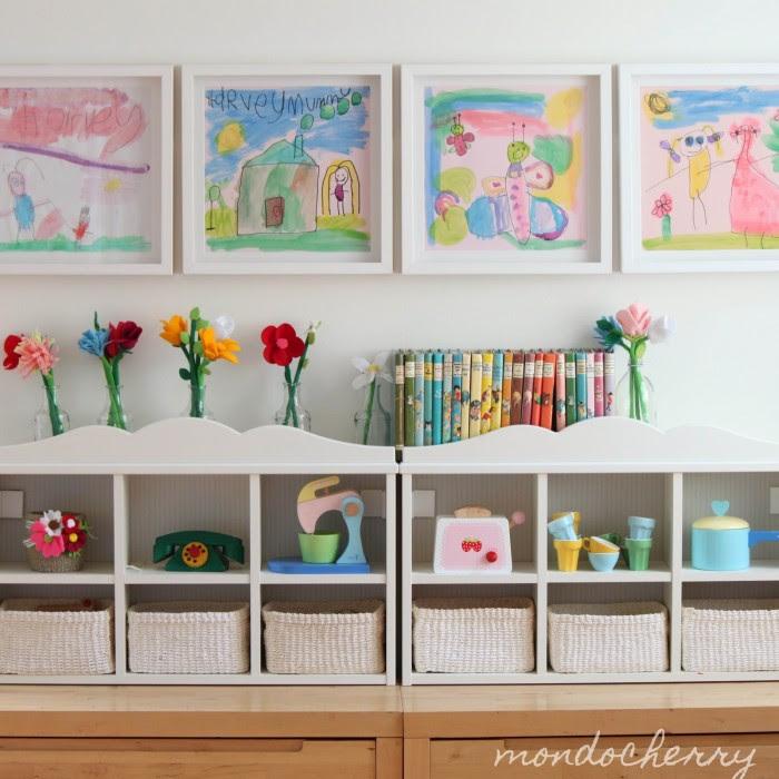 Mondocherry Whitewash Child's room storage colorful prints and pop flowers