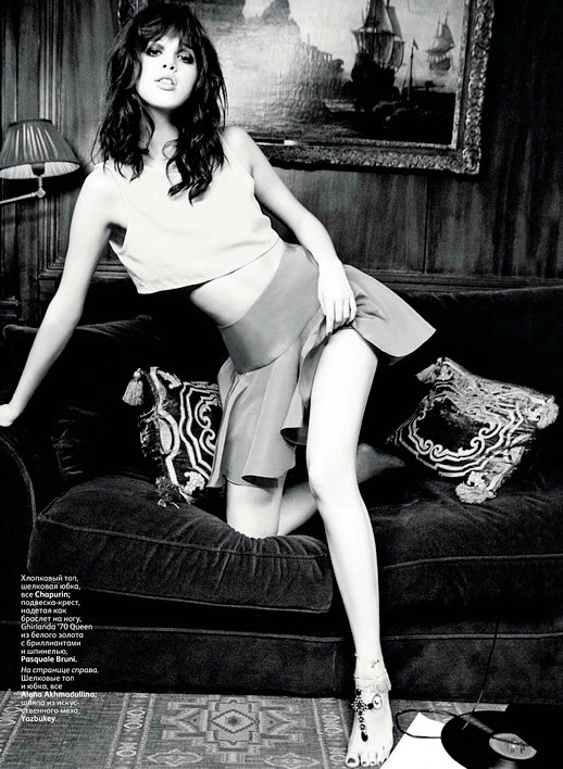 Anais Pouliot  Ellen von Unwerth Vogue Russia March 2012 ROCK AND ROLL GLAM CROP SIMPLE TANK TOP A LINE FULL SKIRT PEPLUM ANKLE JEWELED 3