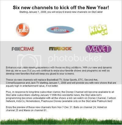 New SkyCable Channels