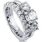 Berricle Sterling Silver Round Cubic Zirconia CZ 3-Stone Anniversary Engagement Wedding Ring Set 3.64 CTW