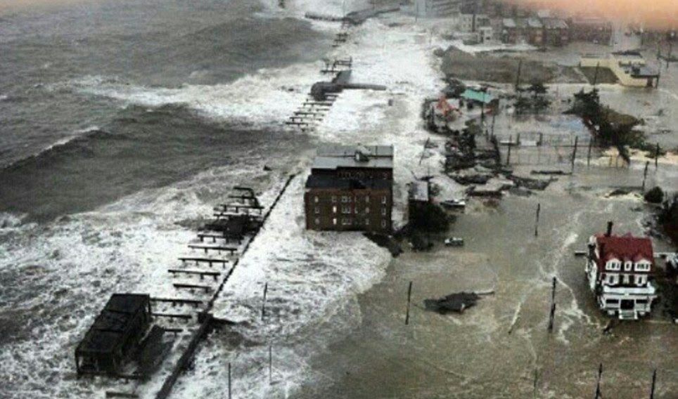 Grave danger: Sandy crashed ashore late on Monday evening near the gambling resort, triggering the evacuation of more than one million people across a dozen states