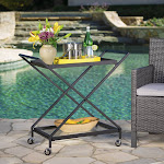 Christopher Knight Home Annika Outdoor Industrial Bar Cart by, Black