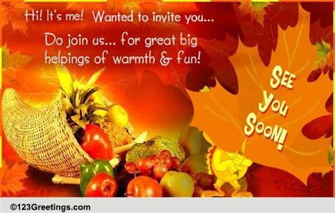 On Thanksgiving Do Join Us  Free Dinner eCards, Greeting
