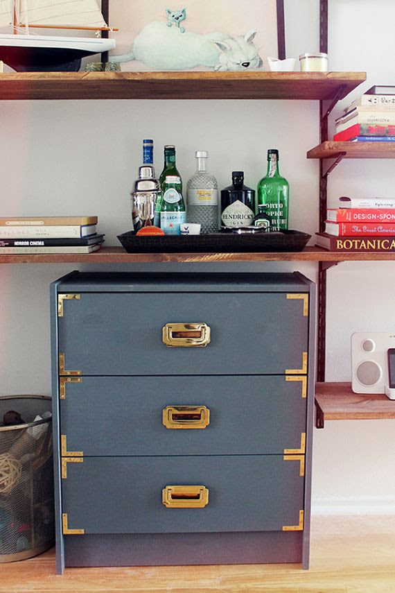 charcoal grey and gold campaign rest diy Ikea hack. Need this for my office!