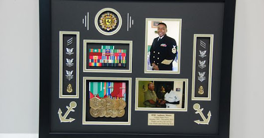 US Naval Shadow Box display w/ medals, rank, challenge coin, and photos!  We added in a couple anchors to the display as well. | Pinterest