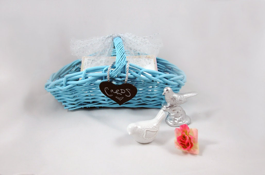 Blue Wedding Decor Card Basket Marriage Advice Chalkboard Heart Tulle Bow Reception Table Decoration Favor Holder Keepsake Bridal Gift Sweet