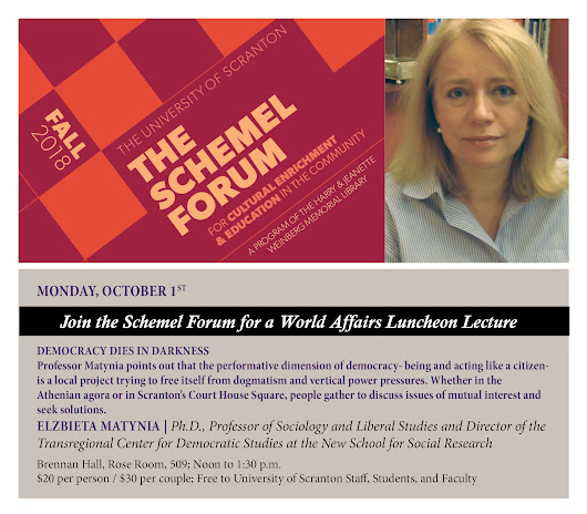 Schemel Forum World Affairs Luncheon Seminar- Dr. Elzbieta Matynia