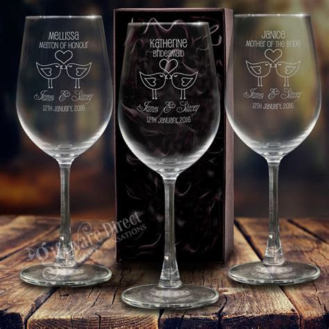 5x Engraved 350ml Wine Glasses Gift Boxed Personalised