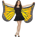 Fun World Butterfly Satin Adult Wings, Orange, OS