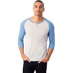 Alternative 3/4 Raglan Henley Men's Long Sleeve Pullover, Oatmeal/True Antique Blue, Medium