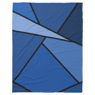 Abstract Blue Polygons Fleece Blanket