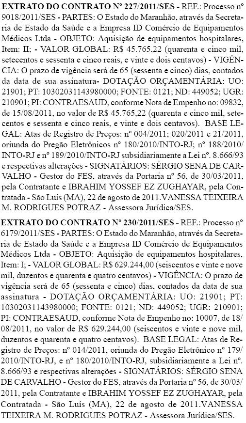 Extrato do contrato entre a Secretaria de Saúde do Estado e a ID Comércio de Equipamentos Médicos Ltda. Foto: Reprodução / Diário Oficial do Estado do Maranhão