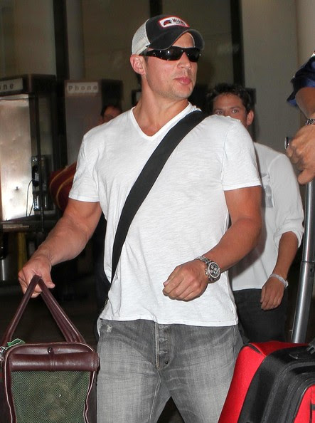 Nick Lachey Singer Nick Lachey and some members of his entourage seen arriving at LAX in Los Angeles, CA.